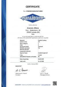 Certificados Qualicoat para pinturas en polvo serie J57