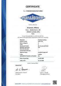 Certificados Qualicoat para pinturas en polvo serie Y51